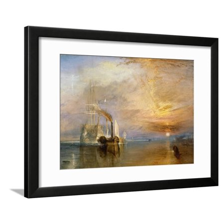 "The ""Fighting Temeraire"" Tugged to Her Last Berth to be Broken Up, Before 1839 Ship Ocean Landscape Framed Print Wall Art By J. M. W. Turner"