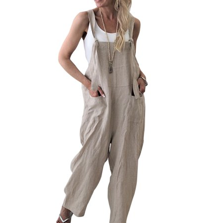 Women Wide Leg Jumpsuit Overall Long Trousers Sleeveless Suspender Bib Casual Loose Baggy Straps Dungarees Pants
