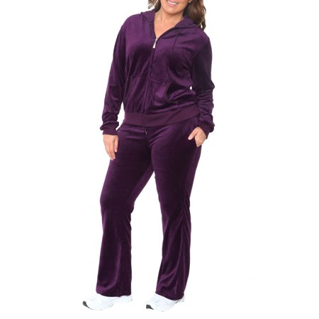 Women's Plus Size Velour 2 Piece Set