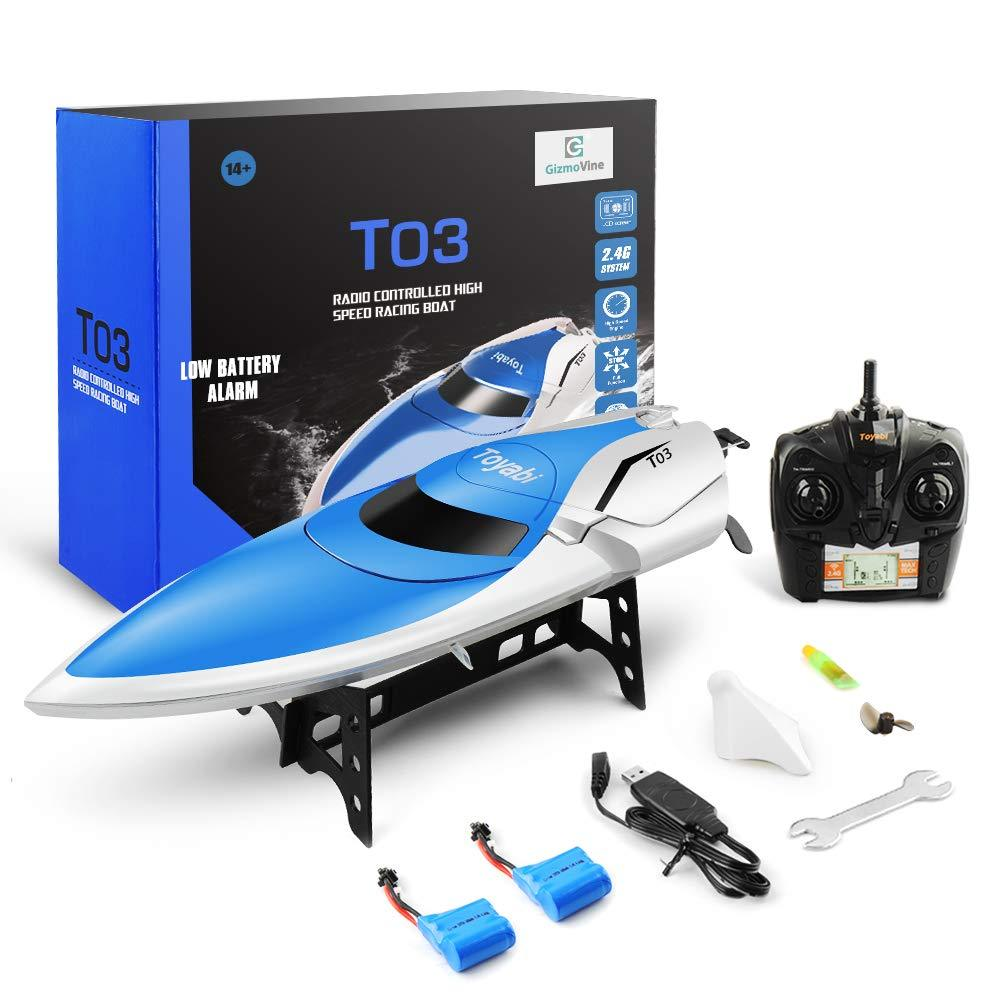 20MPH+ Remote Control Boats for Pools and Lakes with Extra Battery for Kids and Adults GizmoVine RC Boat High Speed