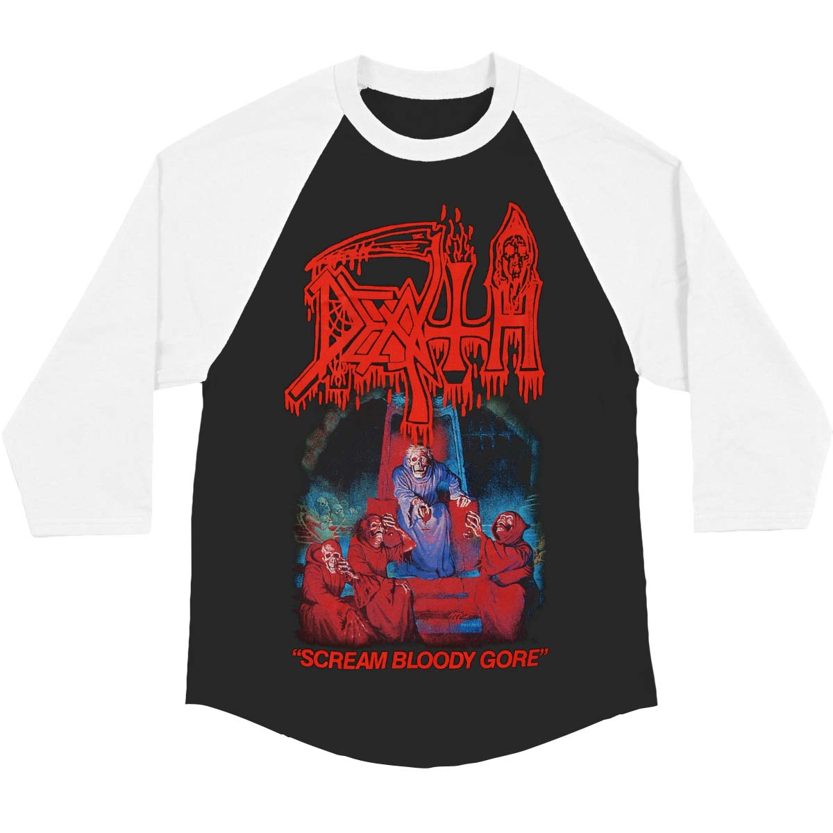 Death Men's  Scream Bloody Gore Baseball Jersey Black/White