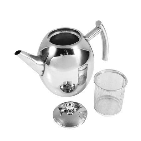 1L/1.5L Silver Stainless Steel Tea Coffee Pot Teapot Removable Mesh Fliter