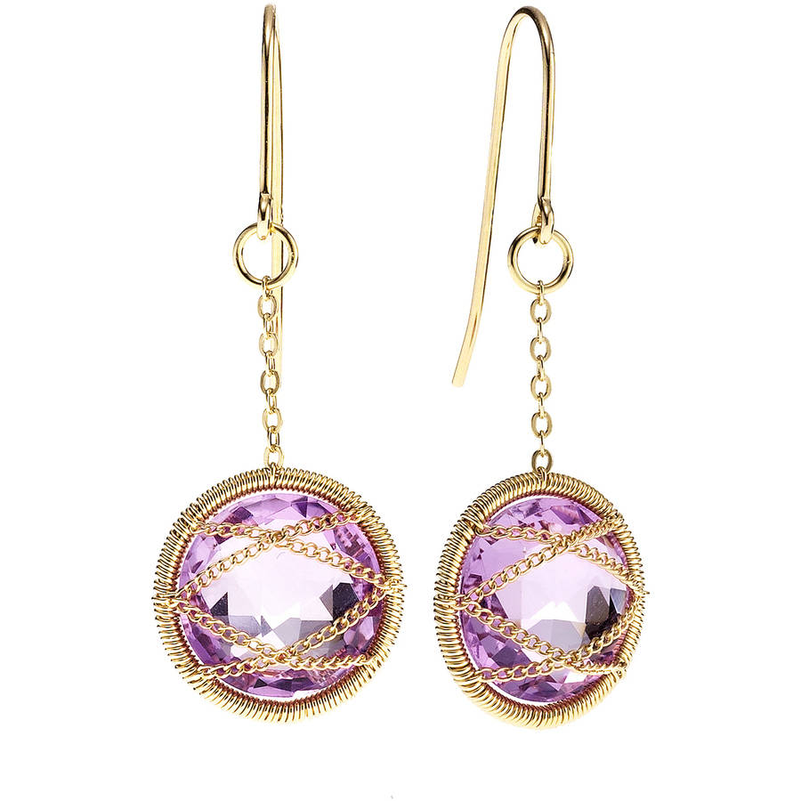 Image of 5th & Main 18kt Gold over Sterling Silver Hand-Wrapped Round Amethyst Stone Earrings