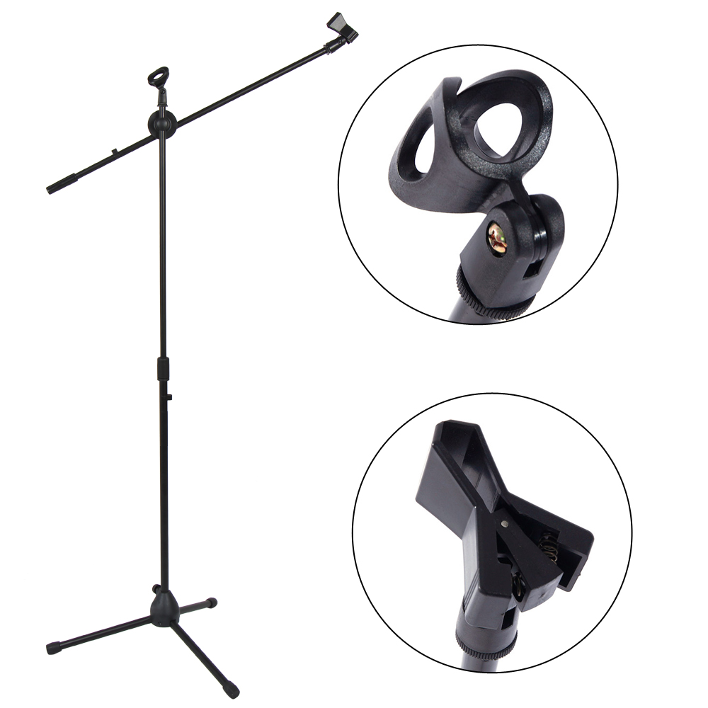 Black NUANNUAN Adjustable Microphone Stand Tripod Boom Mic Stands Clip Holders Professional Collapsible for Performance Karaoke Singing Speech Wedding Stage and Outdoor Activity