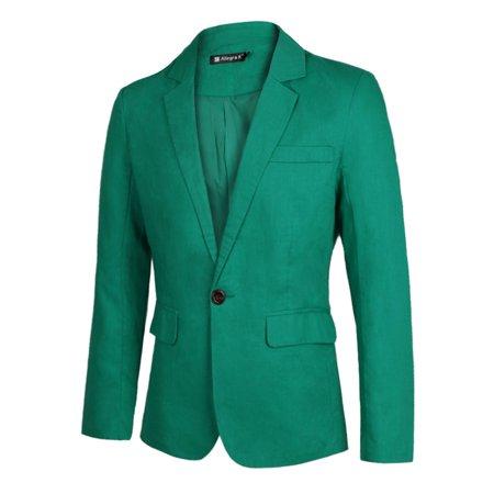 Men's Double Flap Pockets Buttons Decor Slim Fit Casual Blazer ()