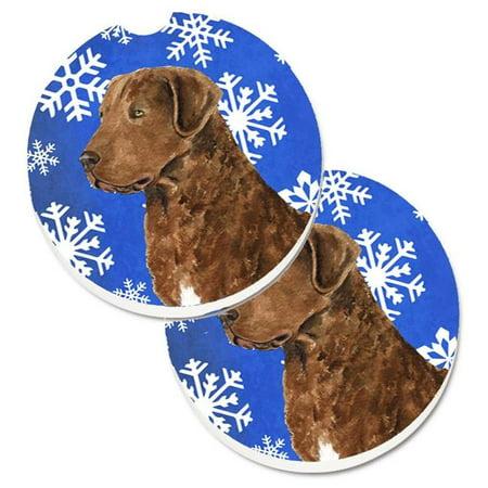 Chesapeake Bay Retriever Winter Snowflakes Holiday Set of 2 Cup Holder Car Coaster - image 1 de 1