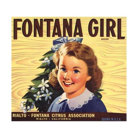 Fontana Girl Brand - Rialto, California - Citrus Crate Label Print Wall Art By Lantern - Party City Fontana