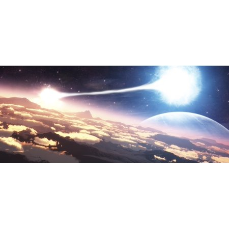 A Double Star System As Seen From A Circling Planet Canvas Art   Frieso Hoevelkampstocktrek Images  43 X 19