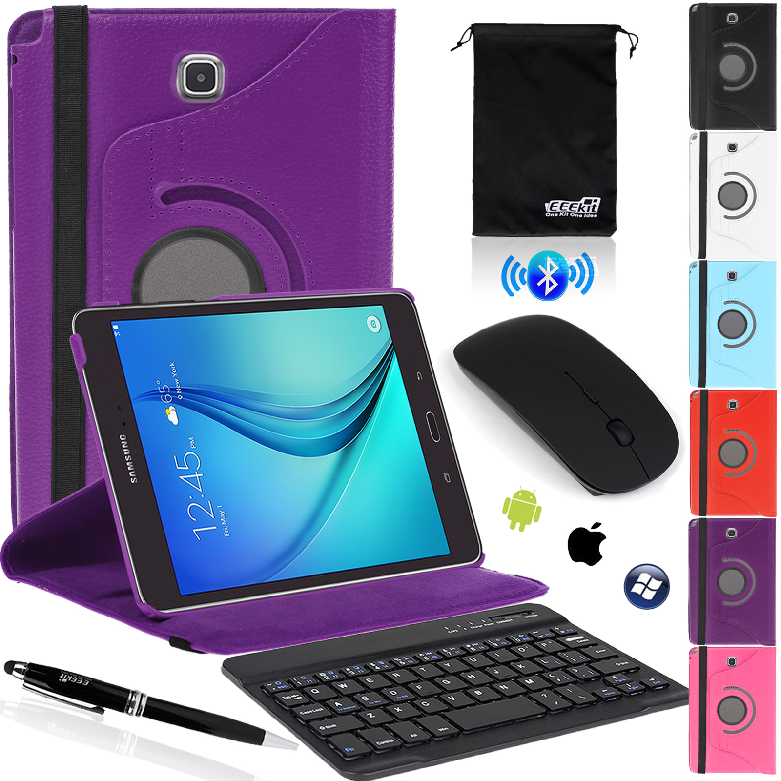 EEEKit for Samsung Galaxy Tab A 8.0 SM-T350,Folio Stand Cover Case,Wireless Bluetooth Keyboard & Mouse + Stylus