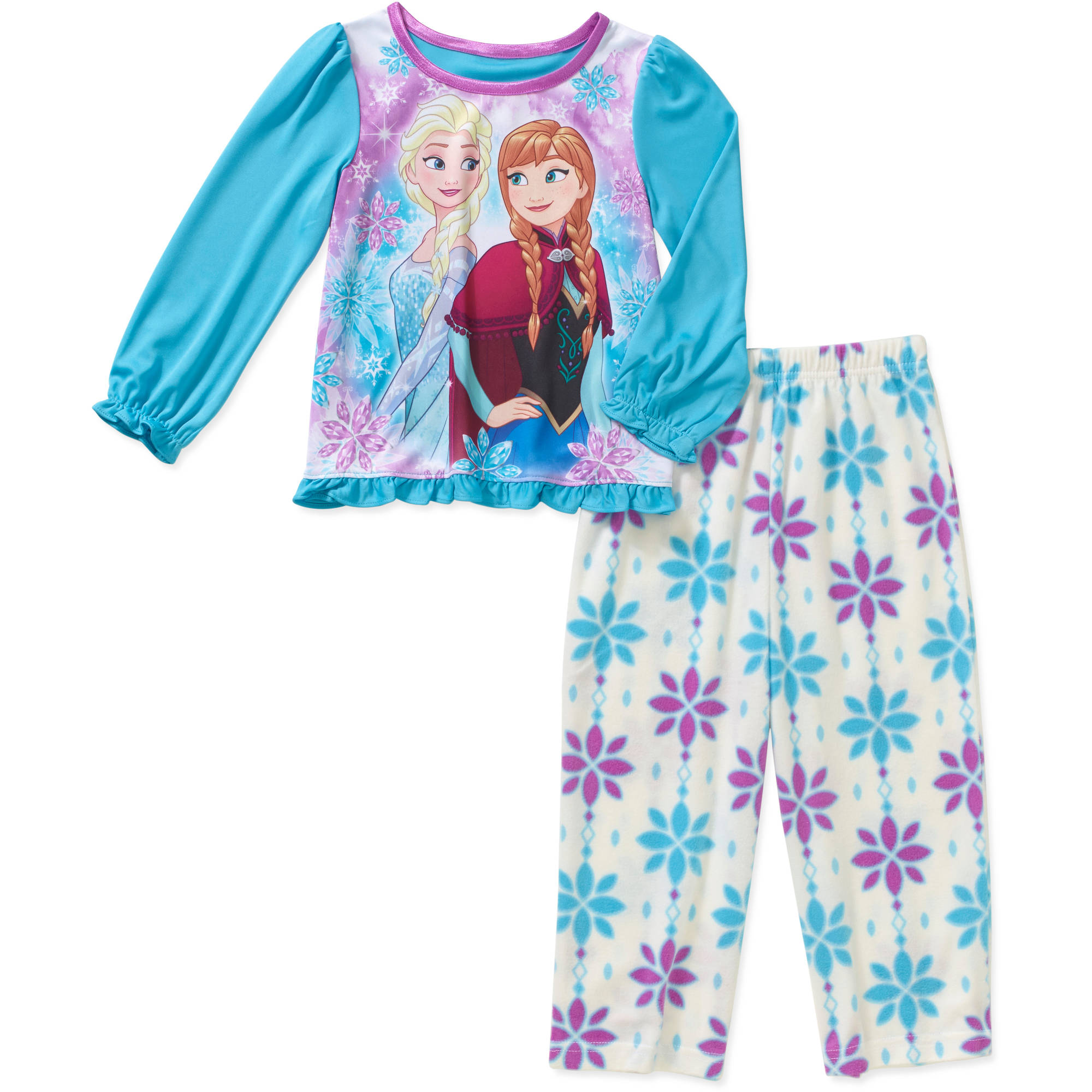 Disney Frozen Toddler Girl Long Sleeve Top with Fleece Pants Pajama 2pc Set