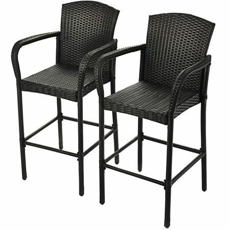 Gymax 2PCS Bar Stool Rattan Patio Furniture Set Dining High Counter Portable Chair ()