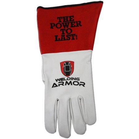 Longevity Welding Armor Medium Red and White Leather TIG Welding Gloves
