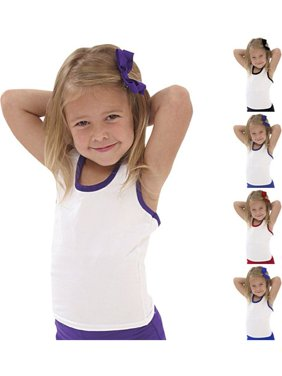 edc12bd53 Product Image Pizzazz Girls White Color Trim Racerback Dance Cheer Tank Top  2T-16