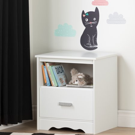 South Shore Tiara Pure White and Black 1-Drawer Nightstand with Night Garden Little Cat Wall Decals