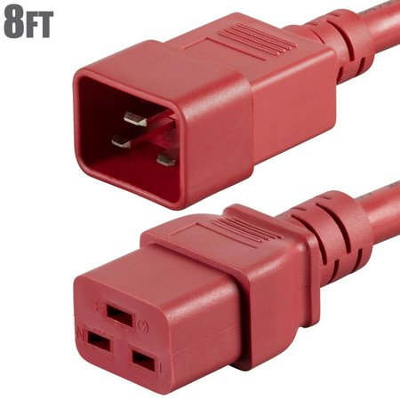 8FT Power Extension Cord Cable IEC 60320 C19 Female to C20 Male 12 Gauge 20A Red