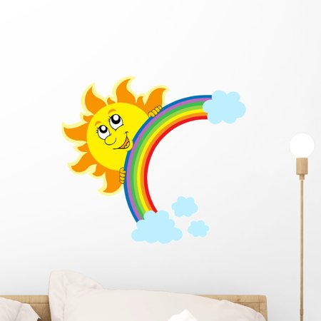 Lurking Sun with Rainbow Wall Decal by Wallmonkeys Peel and Stick Graphic (18 in W x 16 in H) WM114566 (Sun Decal)