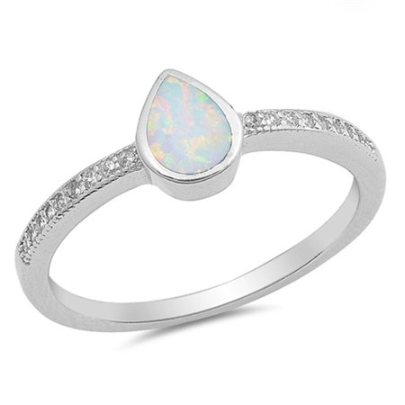 Gem Teardrop Solitaire (Sterling Silver Women's Flawless Colorless Cubic Zirconia White Simulated Opal Micro Pave Teardrop Solitaire Ring (Sizes 4-10) (Ring Size)