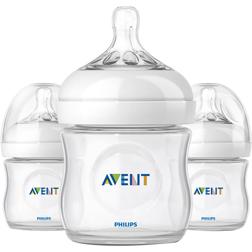 NEW Lot of 3 Phillips AVENT Natural Baby Clear Bottles BPA FREE 4oz