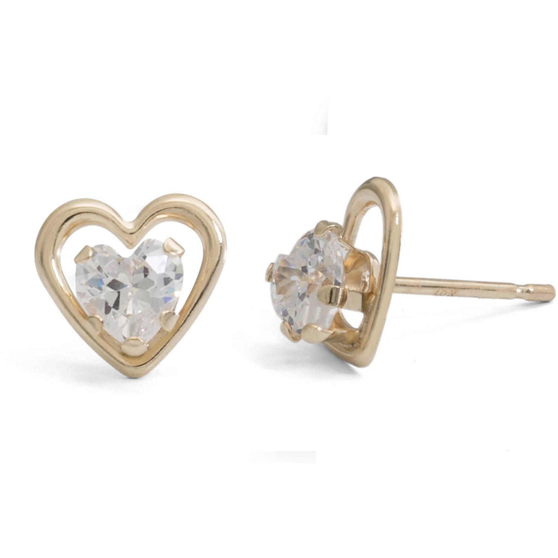 Simulated Diamond 10kt Gold Heart Stud Earrings Walmart