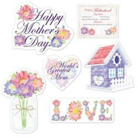 """1PK Mother's Day Cutouts ,Item per pack: 6per pack,Size: 9"""" to 14.75"""""""