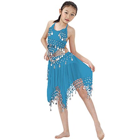 Hip Shakers Kids Professional Belly Dance Halter top & Skirt Costume with Silver - Silver Belly Dance Costume
