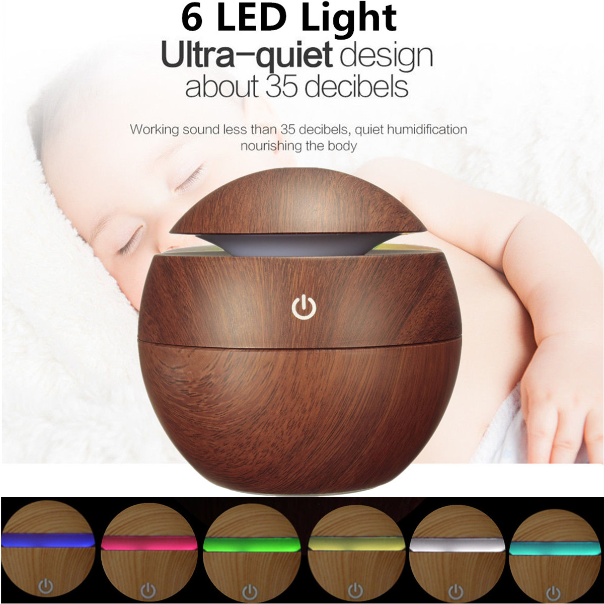 Mohoo Aroma Essential Oil Diffuser for Baby Room, Wood USB LED Grain Ultrasonic Cool Mist Humidifier for Car Office Home Study Gym Yoga Spa