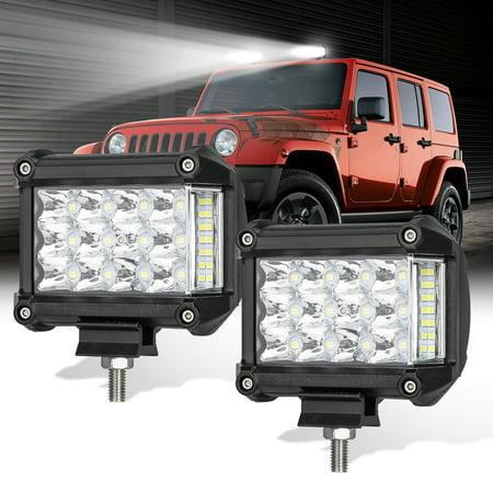 c523774adaaa TSV LED Pods Lights Bar, 4inch Triple Row LED Work Light Pods, 12V 114W  6000K 11400 Lumens Cool White, 1-Pair