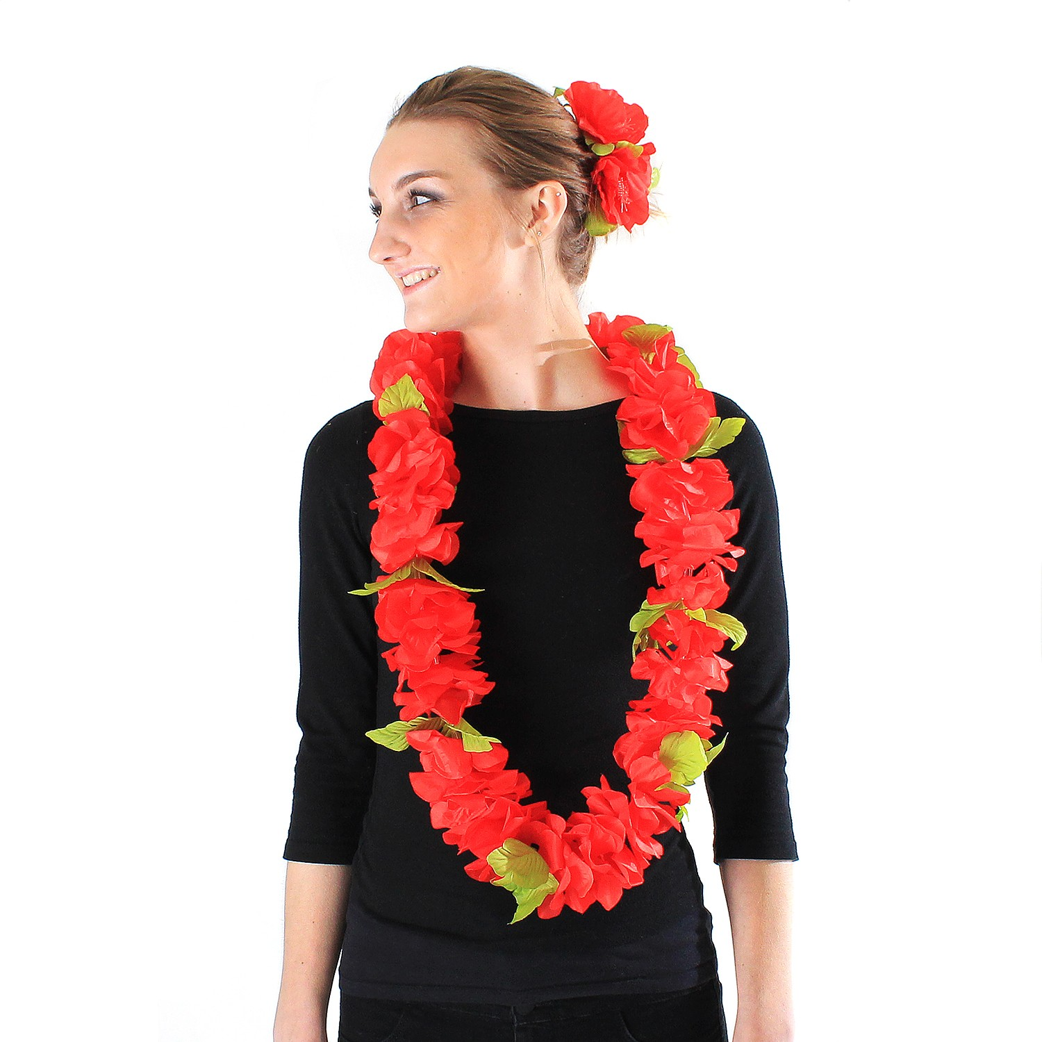 Hawaii Luau Party Artificial Fabric Royal Lei and Double Large Hibiscus Hair Clip Set Pink White Edge