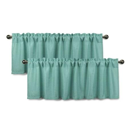 - Aiking Home Rod Pocket Faux Linen Textured Semi-Sheer Window Curtain Valances (Set of 2, 56