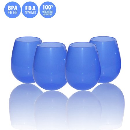 Kuke Set of 4 Unbreakable Silicone Wine Glasses Stemless Collapsible Drinking Cups 9/12 Ounce (Blue-9 oz)