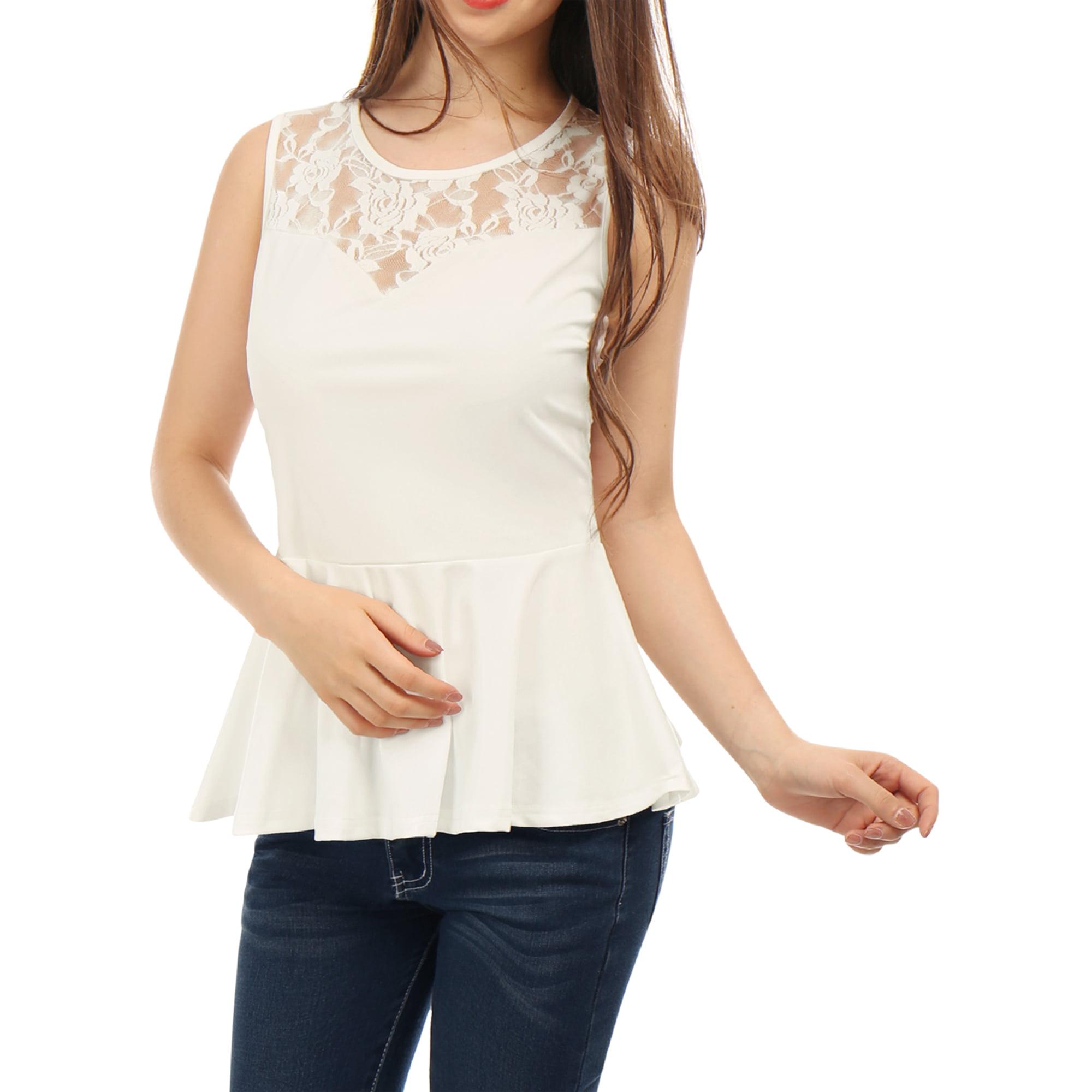 ca4dfa2ac8a7f Allegra K Lady Round Neck Sleeveless Lace Peplum Tops White L ...