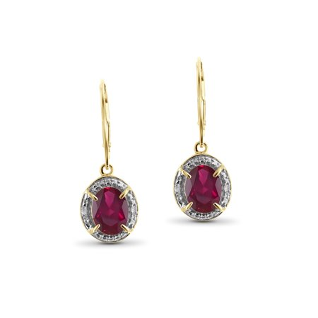 3 3/4 Carat T.G.W. Ruby And White Diamond Accent 14k Gold Over Silver Dangling Earrings ()