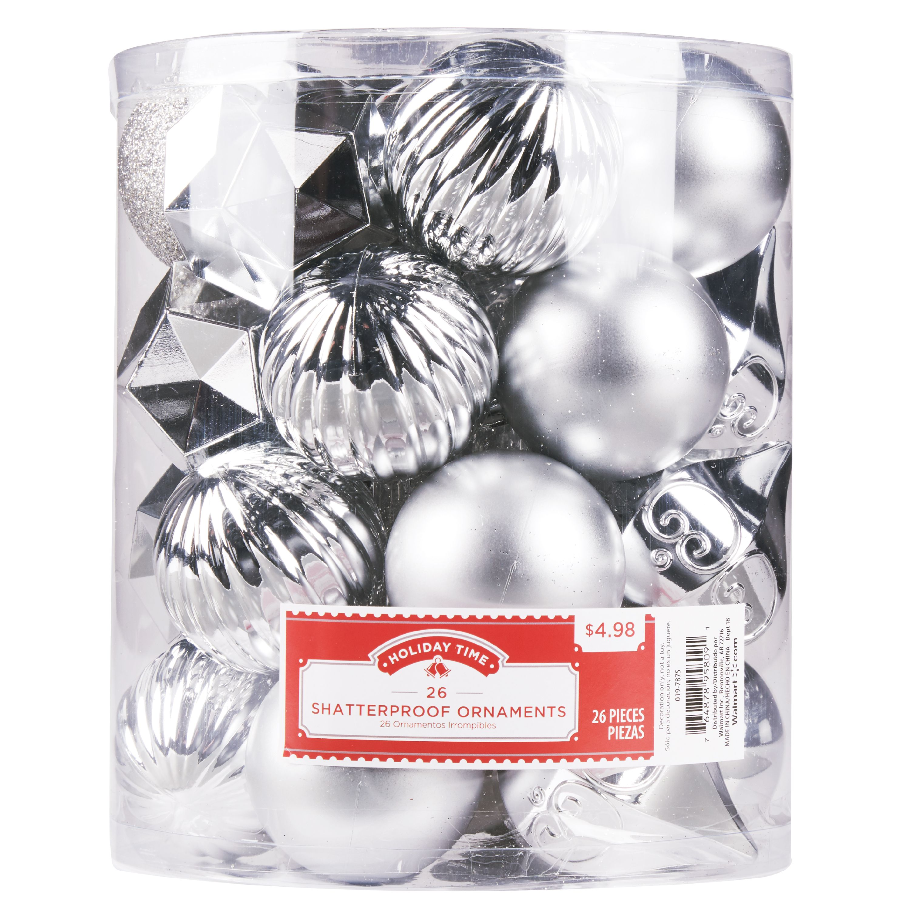 Holiday Time Shatterproof Ornaments, Silver, 26 Count