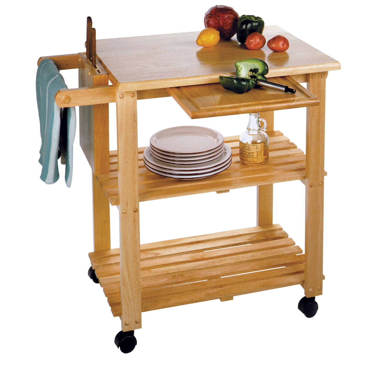 Superbe Winsome Wood Mario Utility Kitchen Cart, Natural Finish