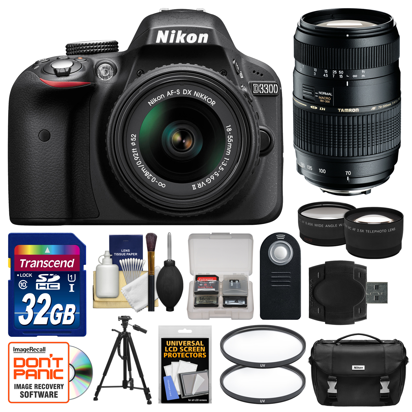 Nikon D3300 Digital SLR Camera & 18-55mm VR DX II AF-S Lens (Black) Factory Refurbished with Tamron 70-300mm... by Nikon