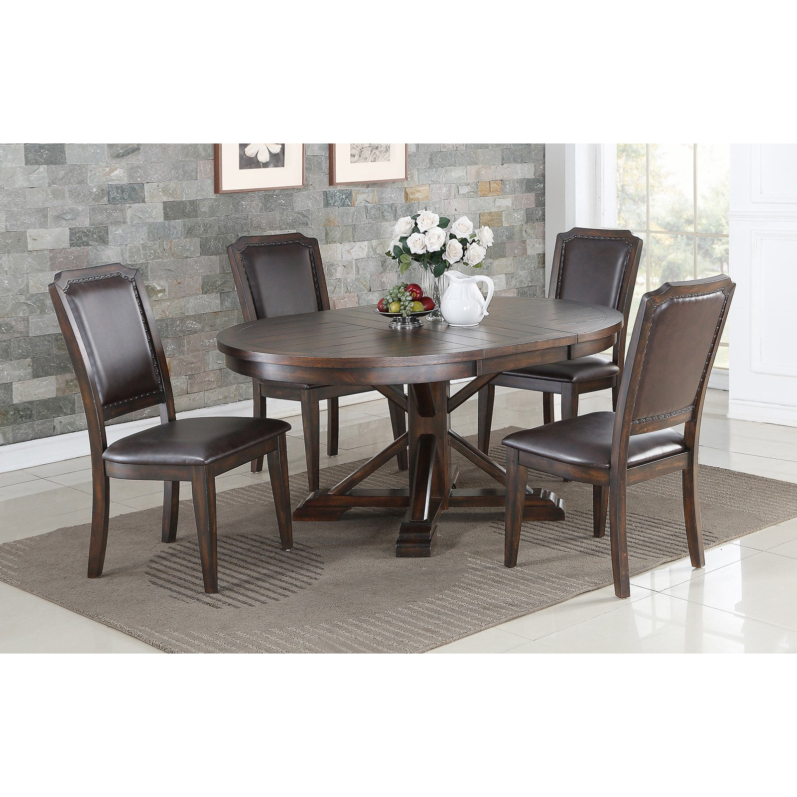 Winners Only Wood Pedestal Dining Table with 18 in. Butterfly Leaf