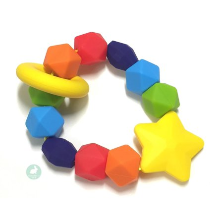 Blue Rabbit Co Baby Teether, Rainbow Sensory Pure Silicone Teething Ring, BPA Free, 1 Pack