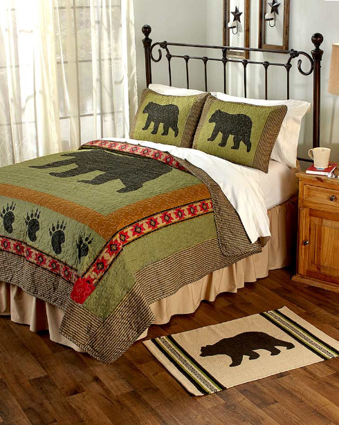 Black Bear Mountain Cabin Lodge Country Home FULL   QUEEN Quilt (3 Piece Set) by Mountain Home Products