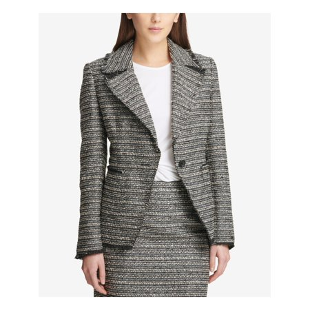 DKNY Womens Black Tweed Metallic One Button Blazer Wear To Work Jacket  Size: 12