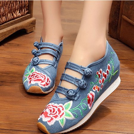 Women Embroidered Retro Shoes Casual Sneakers ()