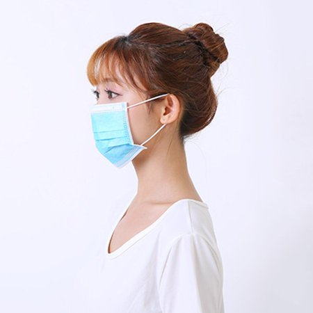 50PCS Disposable Mask Non-Woven Masks 3-Layer Comfortable Sanitary Mask Anti-dust Mouth Face Mask Blue - image 4 of 6