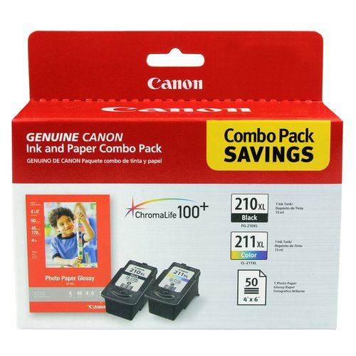 Canon PG-210XL and CL-211XL W/GP-502 Ink and Paper Combo Pack