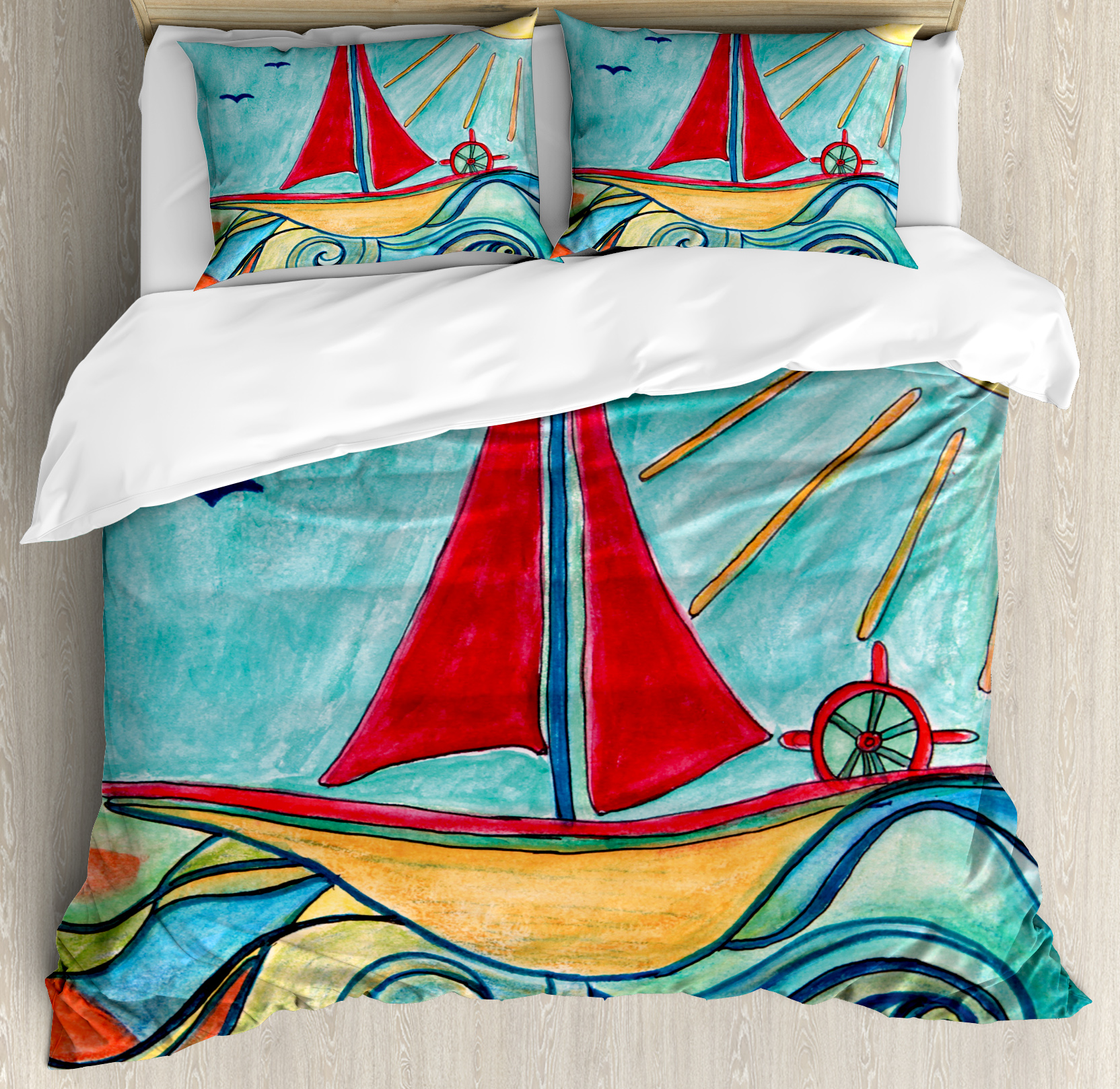 Art Queen Size Duvet Cover Set, Baby Boy Paintings Ship in the Waves of Ocean Sun Kids... by Kozmos