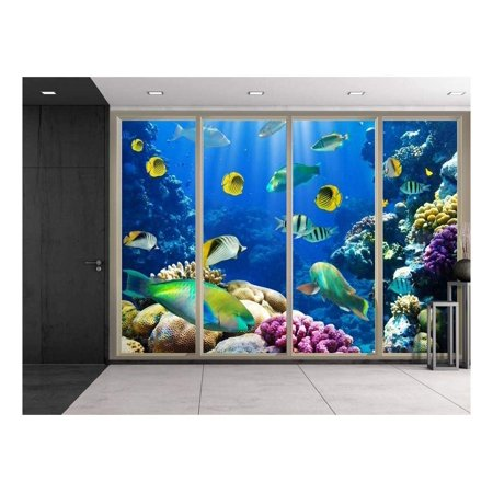 wall26 - Colorful Striped Fish Swimming Over Colorful Coral Reefs Viewed from Sliding Door - Creative Wall Mural, Peel and Stick Wallpaper, Home Decor - 100x144