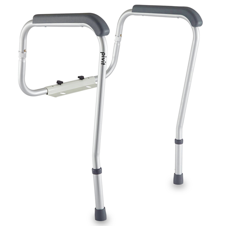 Pivit Bathroom Safety Frame Toilet Rail | Medical Railing Seat Riser for Elderly, Handicap, Disabled, Seniors | Raised Assist Handrail Grab Bar | Adjustable, Padded Handles Fits Over Most Toilet Seats