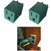 """Set of 2 Stanley Green 3-Prong to 2-Prong Outlet Adapters 1.75"""""""