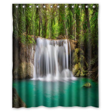 Rainshower Set (GreenDecor Beautiful Forest Rainforest Waterfall Waterproof Shower Curtain Set with Hooks Bathroom Accessories Size 60x72 inches)