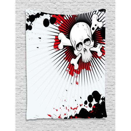 Halloween Tapestry (Halloween Tapestry, Skull with Crossed Bones over Grunge Background Evil Scary Horror Graphic, Wall Hanging for Bedroom Living Room Dorm Decor, 40W X 60L Inches, Pearl Red Black, by)