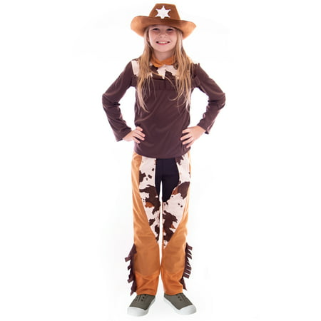Boo! Inc. Ride 'em Cowgirl Halloween Costume | Western Outlaw Sheriff Girls Dress - Western Style Costumes