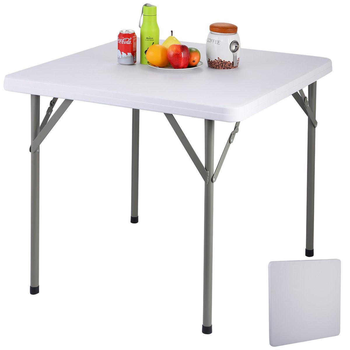 Multipurpose Table costway 34'' plastic portable square folding banquet table